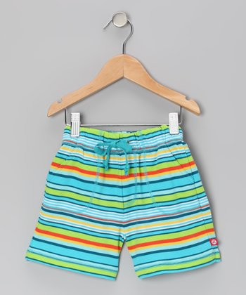 Pool Blue Stripe Shorts - Toddler