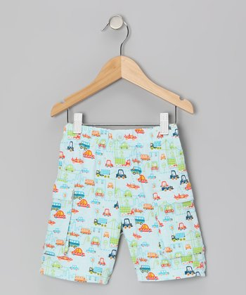 Sky Blue Golden Gate Cargo Shorts - Toddler