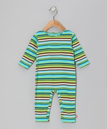 Chocolate & Pool Blue Stripe Playsuit - Infant
