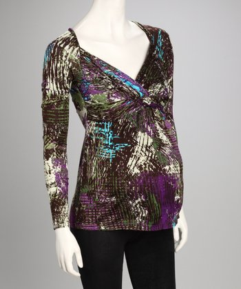 Purple & Green Abstract Surplice Maternity Top