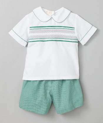 White Cable Design Shirt & Green Shorts - Infant & Toddler