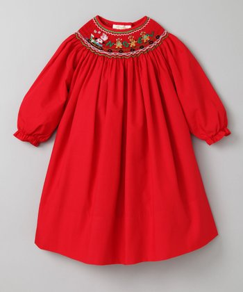 Red Noel Long-Sleeve Bishop Dress - Infant, Toddler & Girls