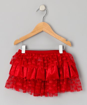 Crimson Tier Ruffle Skirt - Girls