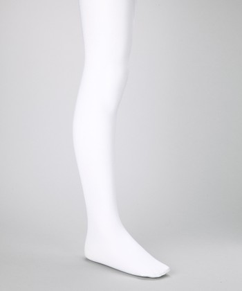 White Shimmer Tights - Girls