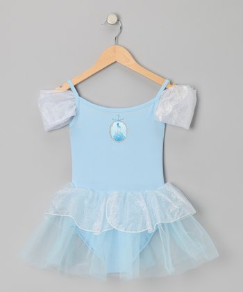 Blue Princess Cap-Sleeve Skirt Leotard - Toddler & Girls
