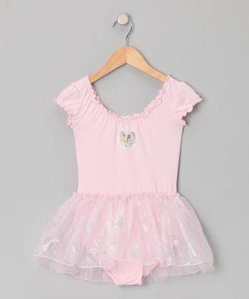Pink Princess Lettuce Trim Skirt Leotard - Toddler & Girls