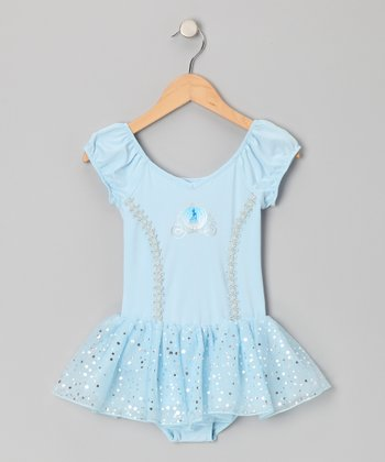 Blue Princess Cap-Sleeve Skirted Leotard - Toddler & Girls