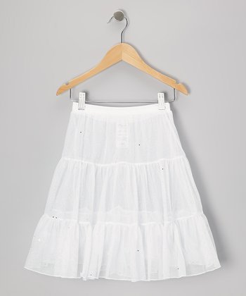 White Shimmer Pettiskirt - Toddler & Girls