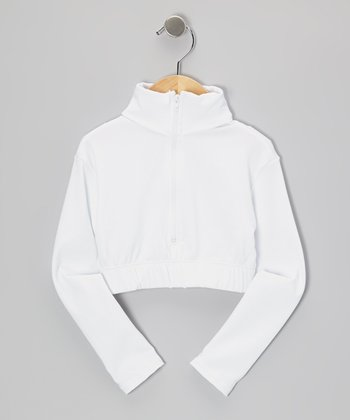 White Crop Pullover - Girls