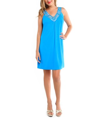 Turquoise Rhinestone Sleeveless V-Neck Cover-Up