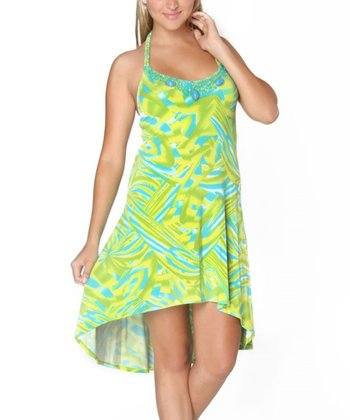 Green & Blue Charlize Hi-Low Dress