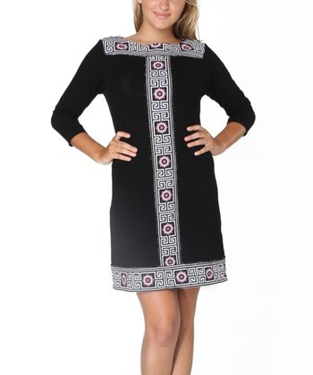 Black Sabrina Three-Quarter Sleeve Dress