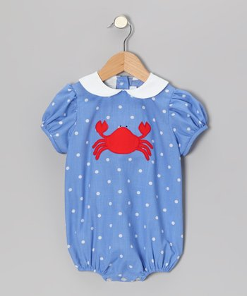 Blue Polka Dot Crab Puff-Sleeve Bubble Bodysuit - Infant