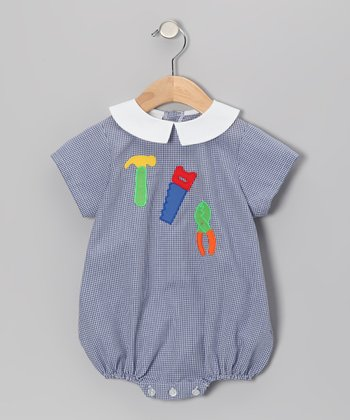 Blue Gingham Tool Bubble Bodysuit - Infant