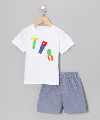 White Tool Tee & Blue Gingham Shorts - Infant & Boys