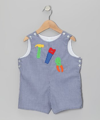 Blue Gingham Tool Shortalls - Infant & Toddler