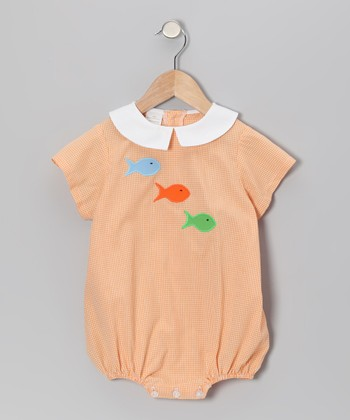 Orange Gingham Fish Bubble Bodysuit - Infant