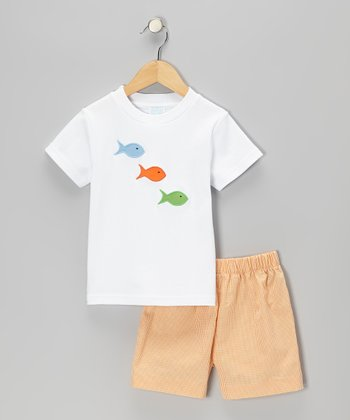 White Fish Tee & Orange Gingham Shorts - Infant, Toddler & Boys