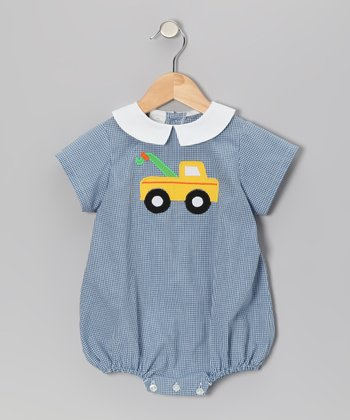 Blue Gingham Truck Bubble Bodysuit - Infant
