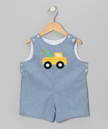 Blue Gingham Truck Shortalls - Infant & Toddler