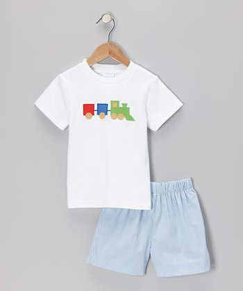 White Train Tee & Blue Stripe Shorts - Toddler & Boys