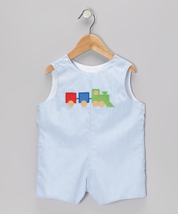 Blue Stripe Train Shortalls - Toddler