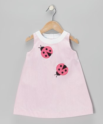 Pink Stripe Ladybug Swing Dress - Infant & Toddler