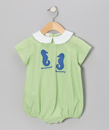 Lime Gingham Sea Horse Bubble Bodysuit - Infant