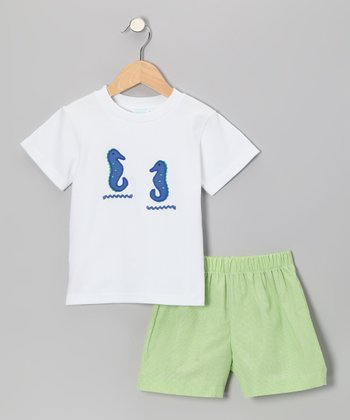 White Sea Horse Tee & Lime Gingham Shorts - Infant & Boys