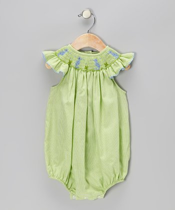 Green Gingham Sea Horse Smocked Bubble Bodysuit - Infant