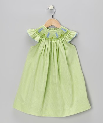 Green Gingham Sea Horse Smocked Dress - Infant, Toddler & Girls