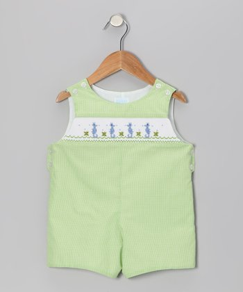 Lime Gingham Seahorse John Johns - Infant & Toddler