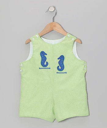 Lime Gingham Seahorse Shortalls - Infant & Toddler