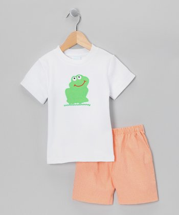 White Frog Tee & Orange Shorts - Infant