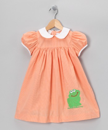 Orange Gingham Frog Babydoll Dress - Infant & Toddler
