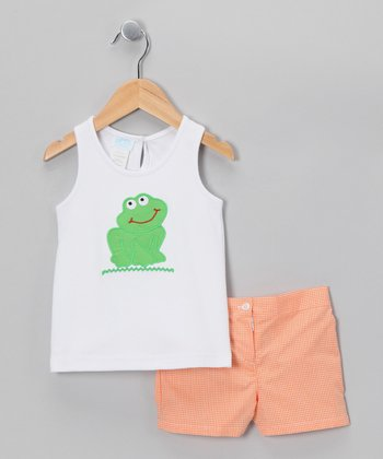 White Frog Tank & Orange Shorts - Girls