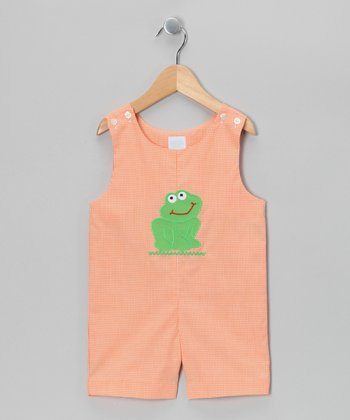 Orange Gingham Frog Shortalls - Infant & Toddler