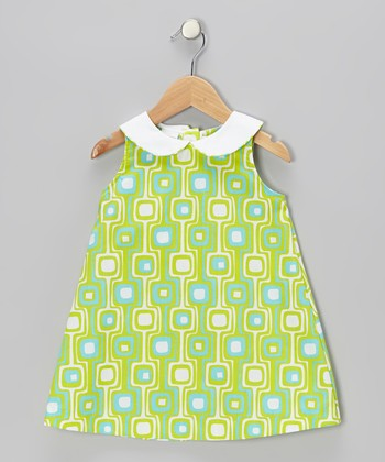 Lime Geometric Swing Dress - Toddler & Girls