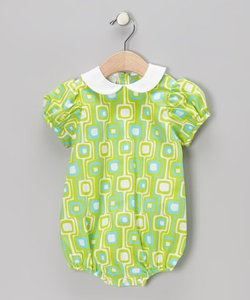 Lime Geometric Puff-Sleeve Bubble Bodysuit - Infant