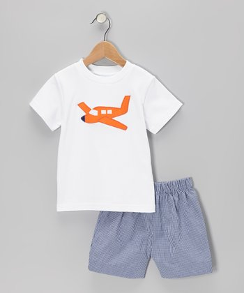 White Airplane Tee & Navy Gingham Shorts - Boys