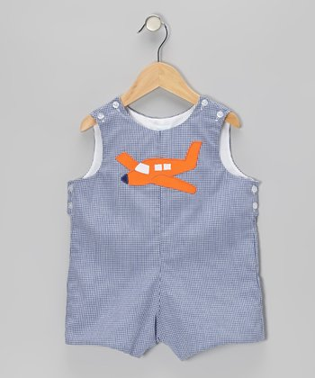 Navy Gingham Airplane Shortalls - Infant & Toddler