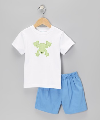 White Frog Tee & Blue Shorts - Boys