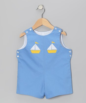Blue Sailboat Shortalls - Infant & Toddler