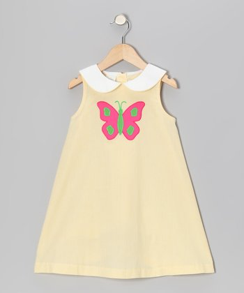 Yellow Stripe Butterfly Swing Dress - Toddler & Girls