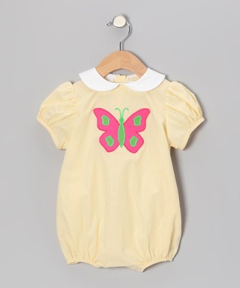 Yellow Stripe Butterfly Puff-Sleeve Bubble Bodysuit - Infant