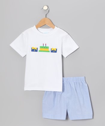 White Cake Tee & Blue Gingham Shorts - Infant, Toddler & Boys