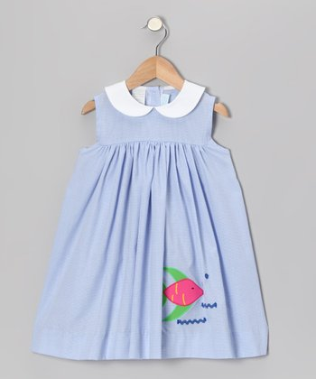 Light Blue Gingham Fish Float Dress - Infant & Toddler
