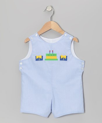 Light Blue Gingham Birthday Cake Shortalls - Infant & Toddler