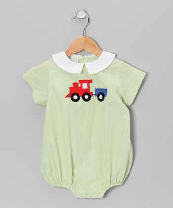 Lime Stripe Train Bubble Bodysuit - Infant