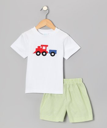 White Train Tee & Lime Stripe Shorts - Infant & Boys